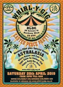 Whirl-y-gig Easter Peace Party Flyer 20 April 2019